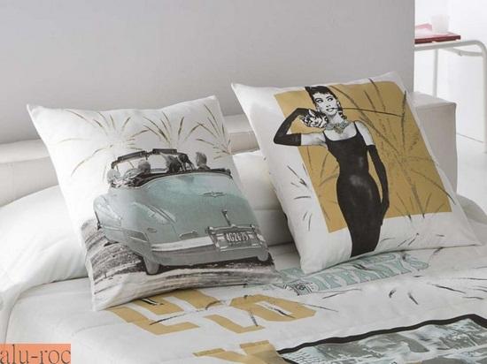 coordina los textiles de tu dormitorio con cojines y cortinas a juego