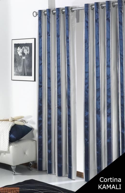Cortina kamali de tejidos jvr con dise o de elegantes l neas for Cortinas grises y blancas