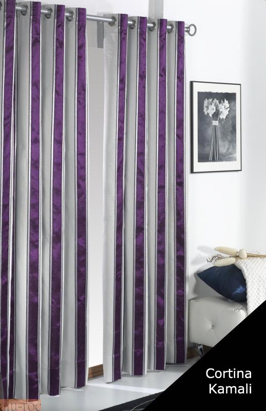 Cortina kamali de tejidos jvr con dise o de elegantes l neas for Cortinas gris plata