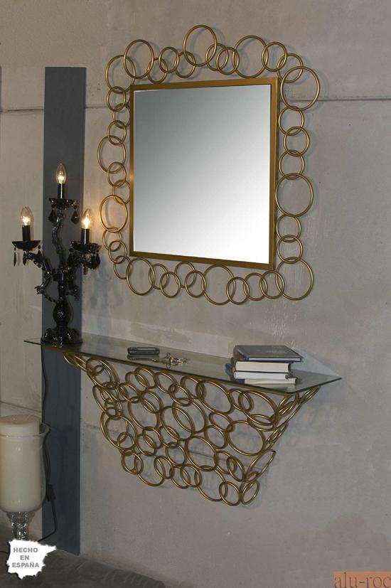 Espejo decorativo cuadrado de forja agnese for Espejos decorativos blancos